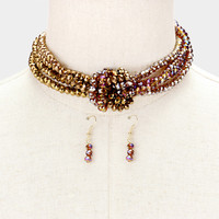 """13"""" topaz knotted glass faceted beads choker collar necklace 1.50"""" earrings"""