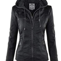 Convertible Collar Long Sleeve Multi-Zipper Jacket