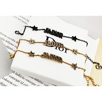 DIOR Newest Women Delicate Diamond Letter Bracelet Hand Catenary Accessories