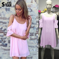 Women Dress Off the Shoulder and Sexy Backless Design Plus Size XL XG Pink Summer Fashion Hot Sell 2015 = 1667444676