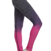 Ombre Full Length Athletic Leggings in Fuchsia