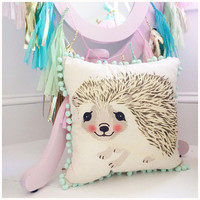 Hamilton Hedgehog Vintage Inspired Woodland Critter Decorative Throw Pillow with Pom Pom Trim, Great for Nurseries, Playrooms and More