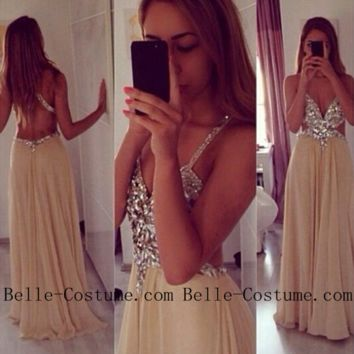 Backless Prom Dresses, Spaghetti Straps V Neck Champagne Crystal Backless Prom Dresses, Evening Dresses