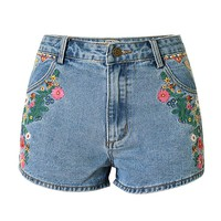 Womens High Waist Colorful Embroidered Denim Shorts