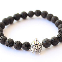 Men's bracelet Lava stone bracelet for men helmet bracelet christmas gift for him natural stone