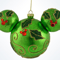 Disney Parks Mickey Icon Holly Christmas Glass Ball Ornament New With Tags
