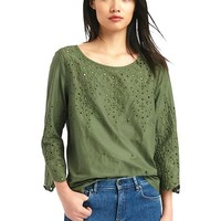 Eyelet three-quarter sleeve blouse | Gap