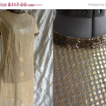 ON SALE 60s Dress // 60s Party Dress // Vintage 1960s Gold See Through  Dress with Beading M L