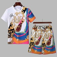 Versace letter print round neck short-sleeved T-shirt + shorts two-piece set