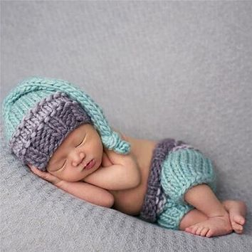 born Baby Photography Prop Photo Crochet Outfits Knit Baby Pants and Hat born Accessories