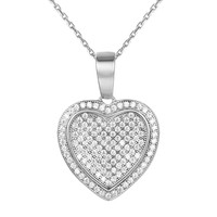 Sterling Silver Double Heart Love Silver Pendant Valentine's Gift