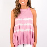 Smoke & Diamonds Tie Dye Tank - Pink