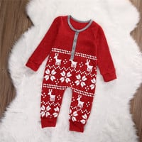 New Arrival Baby Winter Woolen Knitted Rompers Long Sleeve Warm Christmas Deer Clothing Casual Jumpsuit  Clothes Outfits