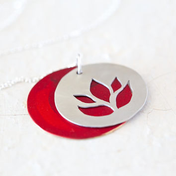 Hand-sawn Lotus Pendant Necklace - Sterling Silver with Crimson Red Patina - Sterling Silver - Boho Chic-Gift for her