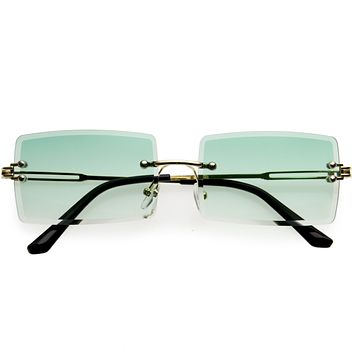 Luxe 90s Inspired Full Rimless Bevelled Lens Medium Square Sunglasses D137