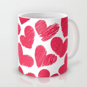 Sketchy hearts in red and white Mug by Silvianna