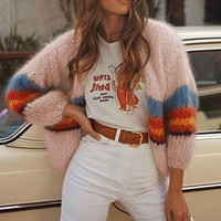 Oversized Colorblock Striped Cardigan Sweater