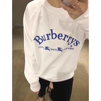 """""""BURBERRY"""" Trending Women Men Stylish Letter Embroidery Long Sleeve Round Collar Lovers Sweater Pullover Top White I13040-1"""