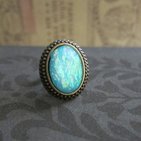 Fire Opal Ring Aqua Turquoise Shimmer Faux Gem Stone Ring The Great Gatsby Blue Ring Vintage inspired Antique Brass LOTR Lord of the Rings
