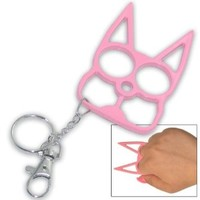 Pink Metal Cat Personal Protection Self Defense Keychain Keyring