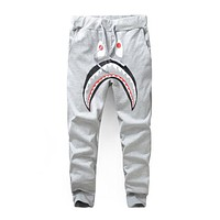 BAPE 2018 men and women couple models classic shark casual pants F-A-KSFZ Gray