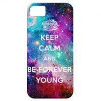 Galaxy Keep Calm and Be Forever Young iPhone 5 Cases from Zazzle.com