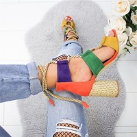 Women Casual Open Toe Rope Lace Up Heel Sandals