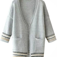Geo Print Drop Shoulder Open Front Knitted Cardigan