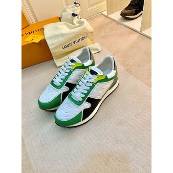 2021 LV Louis Vuitton Women Leather low Top Sneakers Shoes WHITE GREEN
