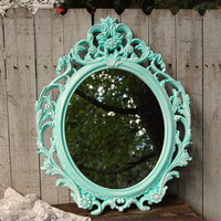 Mirror, Shabby Chic, Baroque Mirror, Mint Green, White, Oval, Upcycled, Ornate, Wedding Decor, Painted Mirror, Hollywood Regency