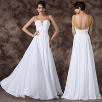 Under 50 Grace Karin  Backless White Chiffon Long Bridesmaids Dress Golden V Neck Beading Gown Evening Prom Party Dress CL6192