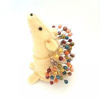 Pin Cushion Hedgehog, handmade from felt, comes with its own pins