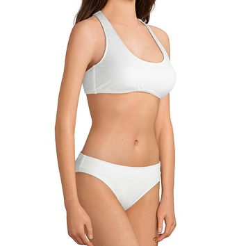 Cremieux Solid Ivory Pique Banded Bralette Bikini Top & Banded Classic Swimsuit Bottom   Dillard's