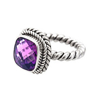 """NKLR-001-AM-9"""" Sterling Silver Ring With Amethyst Q."""