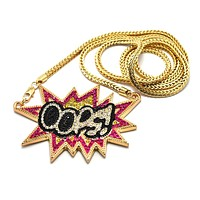 Goldtone with Fuchsia Iced Out Oops! Pendant with a 36 Inch Franco Chain Necklace