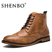 Fashion Brogue Men Boots, Handsome Men Ankle Boots, Popular Brown Boots For Men