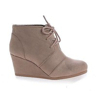 Rex Taupe By Classified, Light Taupe Gray Suede Lace up Oxford Ankle Bootie