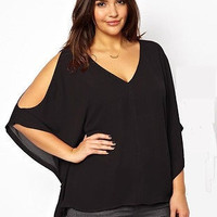 Sexy Women V Neck Plus Size Batwing Sleeve Blouse Chiffon T Shirt Tops US Seller New = 1946115012