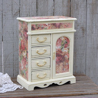 Jewelry Armoire, Shabby Chic, Jewelry Box, Ivory, Pink, Decoupage, Hand Painted, Upcycled, Roses, Wood, Distressed, Valentine Gift
