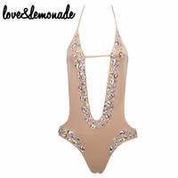 Love&Lemonade Cut Out Beaded Straps Bodysuits Nude  TB 9875