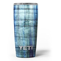 Blue and Green Tye-Dyed Wood - Skin Decal Vinyl Wrap Kit compatible with the Yeti Rambler Cooler Tumbler Cups