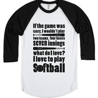 I Love Softball-Unisex White/Black T-Shirt