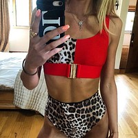 Leopard print two piece women swimsuit Sexy swimwear beachwear High waist strap female bathing suit swimwear