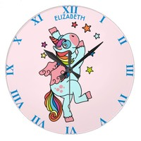 Cute Dancing Unicorn With Wings And Stars Large Clock