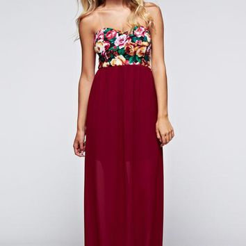 Live For Love Strapless Floral Maxi Dress