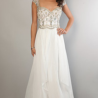 Long Cap Sleeve Beaded Gown by Dave and Johnny