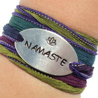 Namaste Silk Wrap Bracelet Yoga Jewelry With Meaning Yogi Engraved Meditation Lotus Flower Inspire Life Unique Gift For Her Under 50 C14
