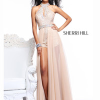 Jeweled Halter Top With Slit Bust Formal Prom Dress Sherri Hill 2975