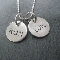 RUN 10K 18 inch Sterling Silver 2 Disc Running Necklace on 18 inch Sterling Silver Ball chain - Road Race Jewelry