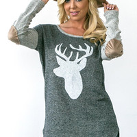 Gray Deer Print Sweater with Elbow Patches